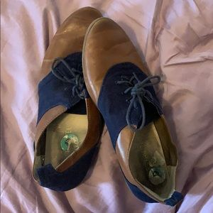 Blue and Brown Leather Oxford Shoes